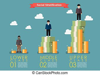 Social stratification with money infographic. Vector...