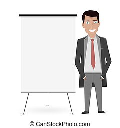 White Board for the business presentation and cartoon man in...