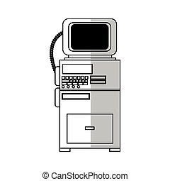 monitor medical equipment over white background. vector...