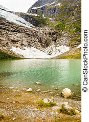 Boyabreen Glacier and lake in Norway - Boyabreen Glacier and...