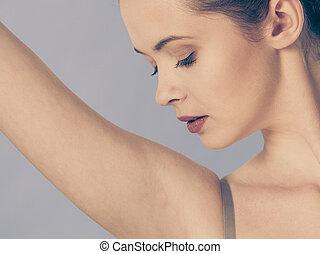 完美, 皮膚, 婦女, 關心,  armpit