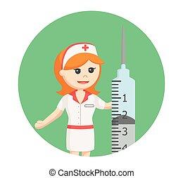 nurse with big syringe in circle background