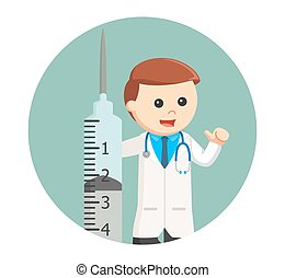 doctor with big syringe in circle background