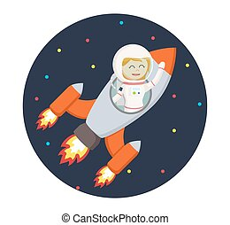 astronaut girl flying with rocket in circle background