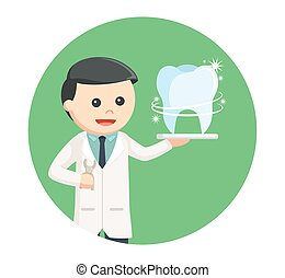 dentist with shiny tooth in circle background