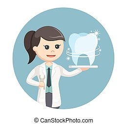 woman dentist with shiny tooth in circle background