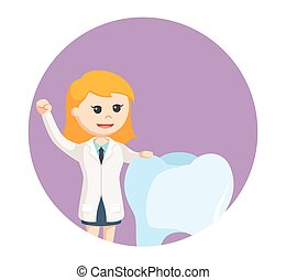 woman dentist with big tooth in circle background