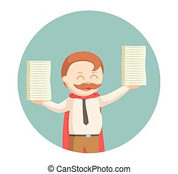 super businessman lifting stack of documents in circle...