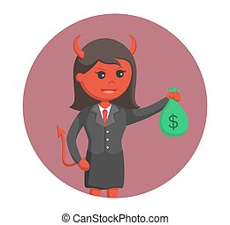 businesswoman devil with money in circle background
