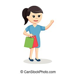 girl with two shopping bags