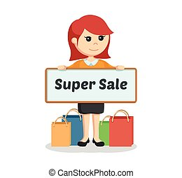girl with shopping bags and super sale board