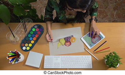 Woman drawing pastels watercolor tablet art still life...
