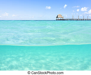 Over under shallow tropical sea with wooden dock
