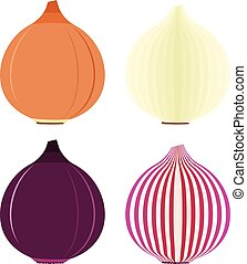 Onion symbols or flat icons with red and golden, sliced and...