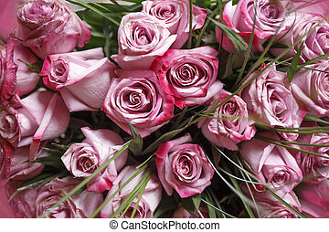 Bouquet of pink roses background, upper view