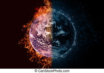 Planet Earth in fire and water. Concept sci-fi artwork.