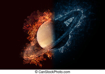 Planet Saturn in fire and water. Concept sci-fi artwork