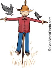 Crows Pair Straw Scarecrow - Illustration Featuring a Pair...