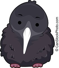 Curious Kiwi Bird Fluffy Feathers