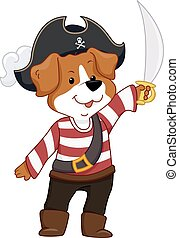 Dog Pirate Mascot Scimitar - Mascot Illustration Featuring a...