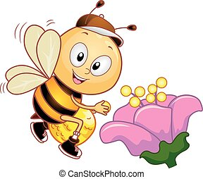 Bee Pollen Bag Collect Mascot - Mascot Illustration of a...