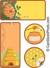Honey Bee Label Designs - Printable Illustration Featuring...
