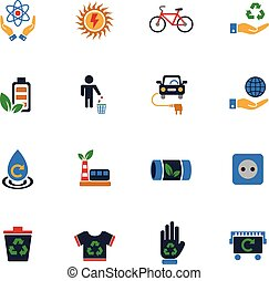 alternative energy icon set - alternative energy web icons...