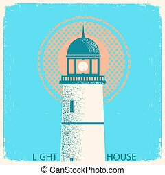 Lighthouse vintage poster on old paper texture.