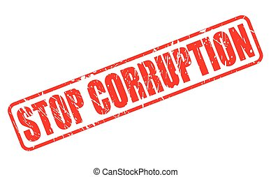 STOP CORRUPTION red stamp text on white