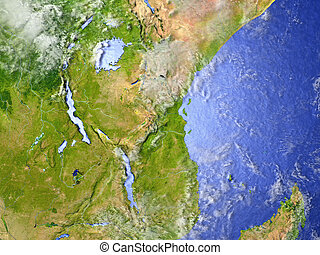 Great lakes of Africa on realistic model of Earth - Great...