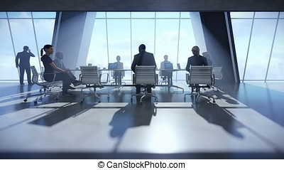 Business team in conference room, zoom in
