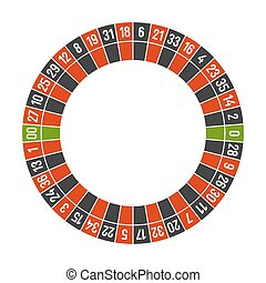 Roulette Casino Wheel Template with Double Zero on White Background. Vector