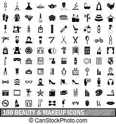 100 beauty and makeup icons set in simple style for any...