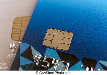 credit card or bank card or smart card closeup macro shot