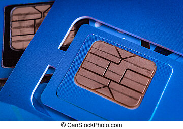 sim card used of mobile smart phone close up macro shot on...