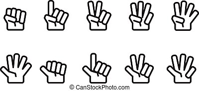 Hand counting number icons set outline black and white color isolated on white background