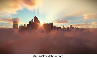 City skyline above timelapse clouds at sunrise