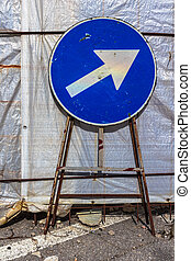 Mandatory direction sign - Old mandatory direction sign with...