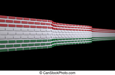 Hungarian flag as a brick wall, border protection concept,...