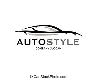 Automotive car logo design with abstract sports vehicle...