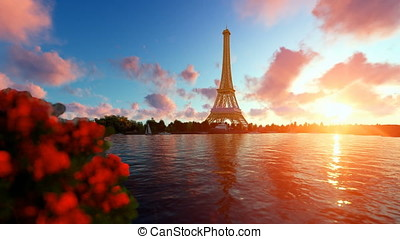 Seine in Paris with Eiffel Tower against beautiful sunset