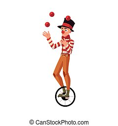 Funny clown juggling balls while riding unicycle, one wheeled bicycle