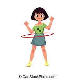 Teenage Caucasian girl spinning, playing with hula hoop,...