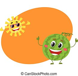 Cute, funny watermelon and sun characters, hot summer time -...