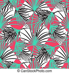Green and red palm leaves and harlequin rhombs seamless vector pattern.
