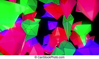 Abstract Low Poly Particles Loop Background. Full HD 3D...