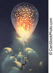 man and big balloon with glowing stars inside floating in...