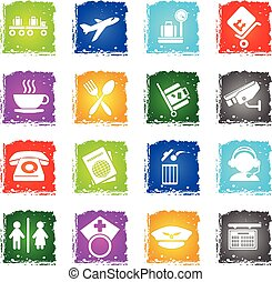 Airport icon set - Airport simply symbols in grunge style...