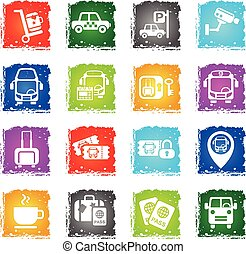 bus station icon set - bus station web icons in grunge style...