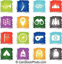 Boy scout simply icons - Boy scout simply symbols in grunge...